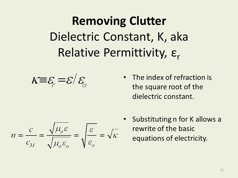 Removing Clutter Dielectric Constant, K, aka Relative Permittivity, εr