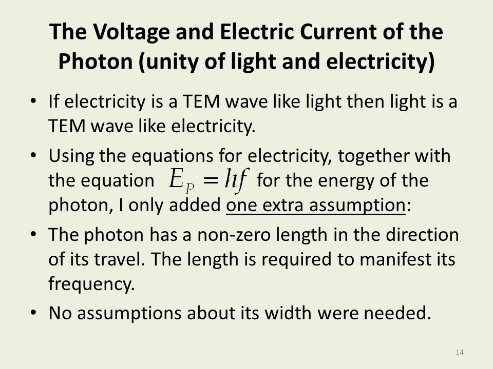 The Voltage and Electric Current of the Photon (unity of light and electricity)