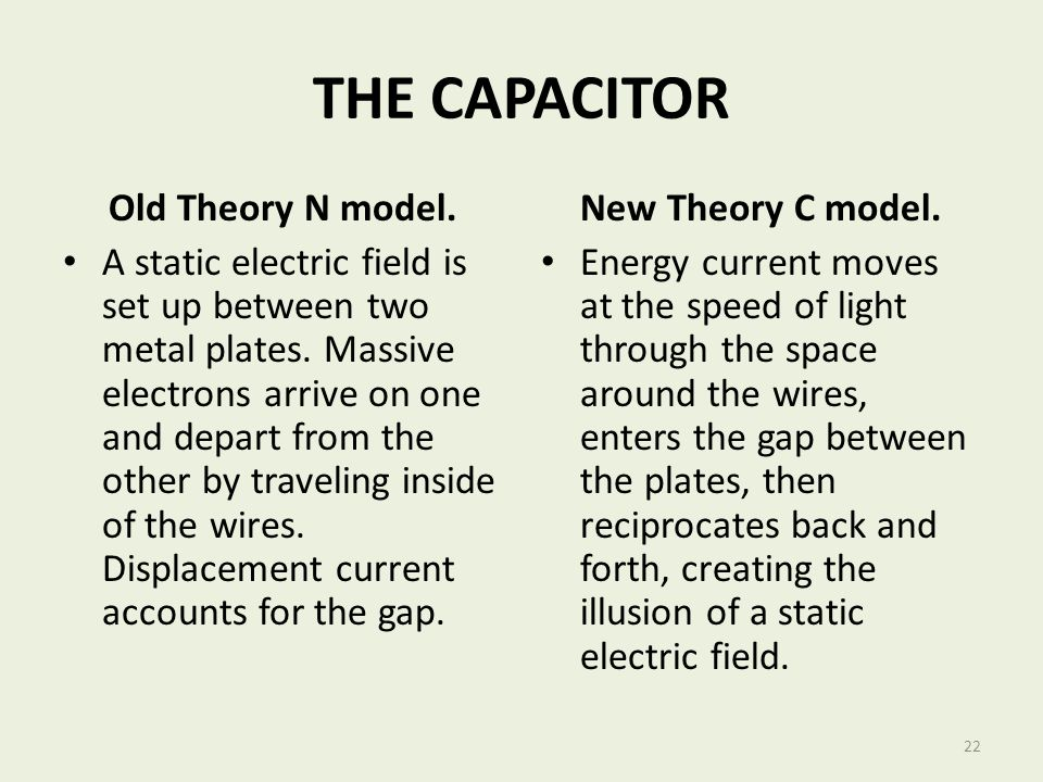 THE CAPACITOR Old Theory N model.