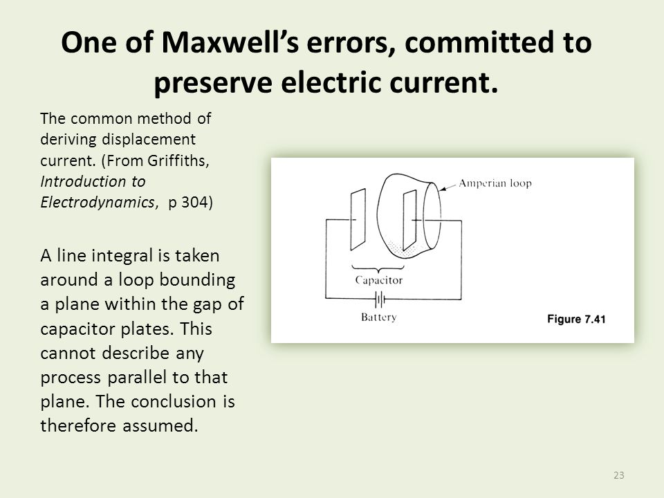 One of Maxwell's errors, committed to preserve electric current.