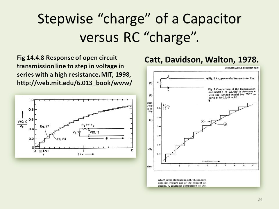 Stepwise charge of a Capacitor versus RC charge .