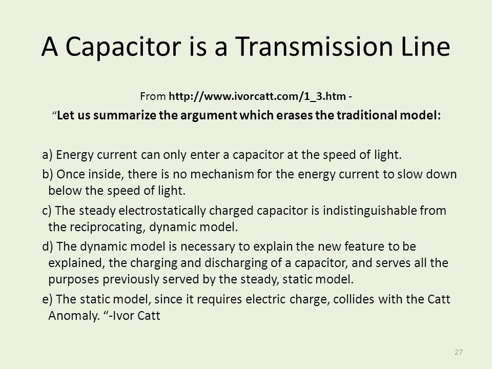 A Capacitor is a Transmission Line