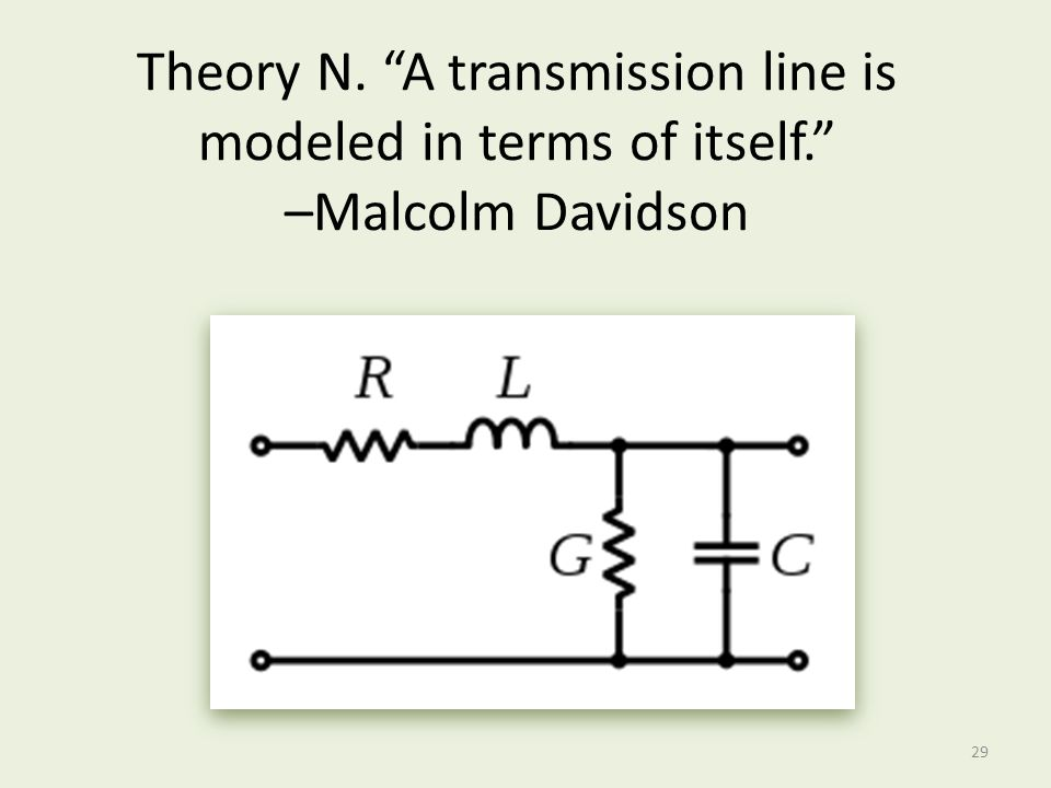 Theory N. A transmission line is modeled in terms of itself