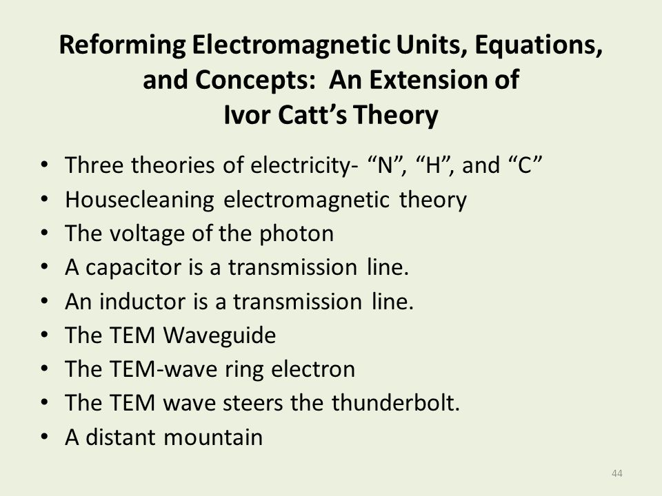 Reforming Electromagnetic Units, Equations, and Concepts: An Extension of Ivor Catt's Theory