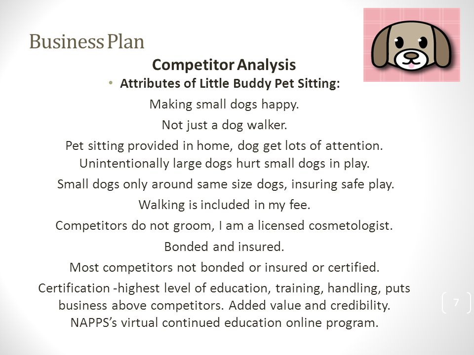 Business plan for a pet sitting business marshall plan importance and debate essay