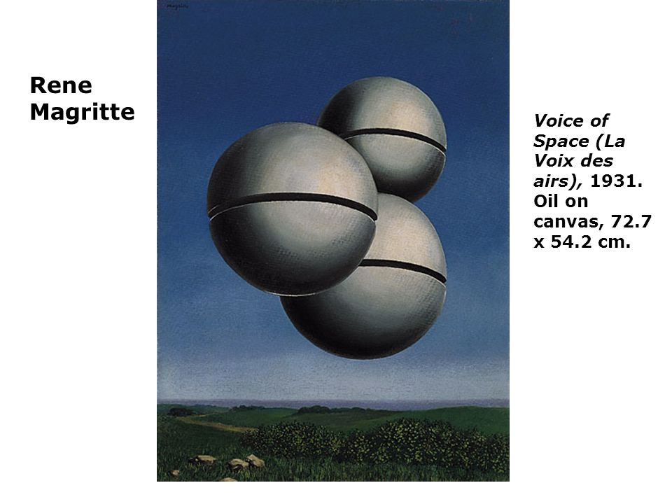 Rene Magritte Voice of Space (La Voix des airs), Oil on canvas, 72.7 x 54.2 cm.