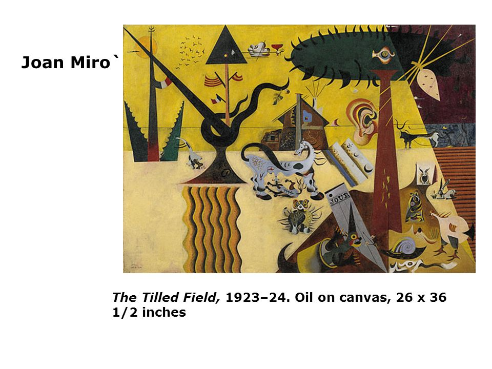 Joan Miro` The Tilled Field, 1923–24. Oil on canvas, 26 x 36 1/2 inches
