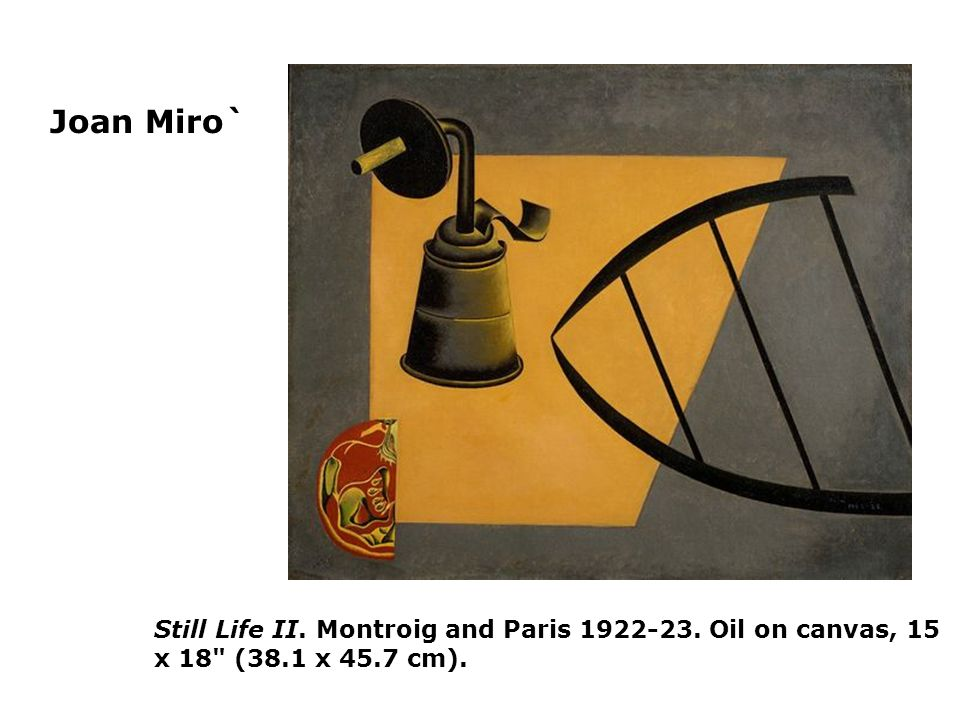 Joan Miro` Still Life II. Montroig and Paris Oil on canvas, 15 x 18 (38.1 x 45.7 cm).