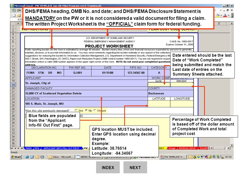 fema instructions for using the pw template excel spreadsheet