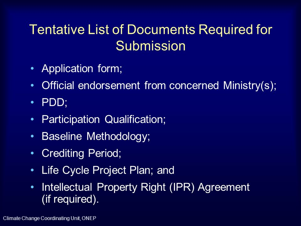 Tentative List of Documents Required for Submission