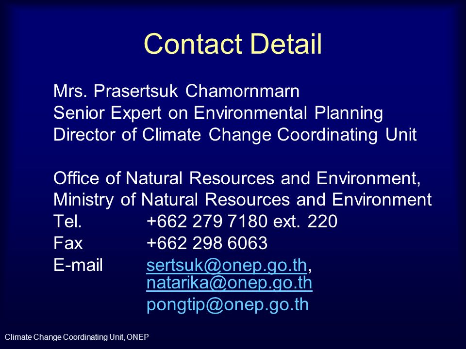 Contact Detail Mrs. Prasertsuk Chamornmarn