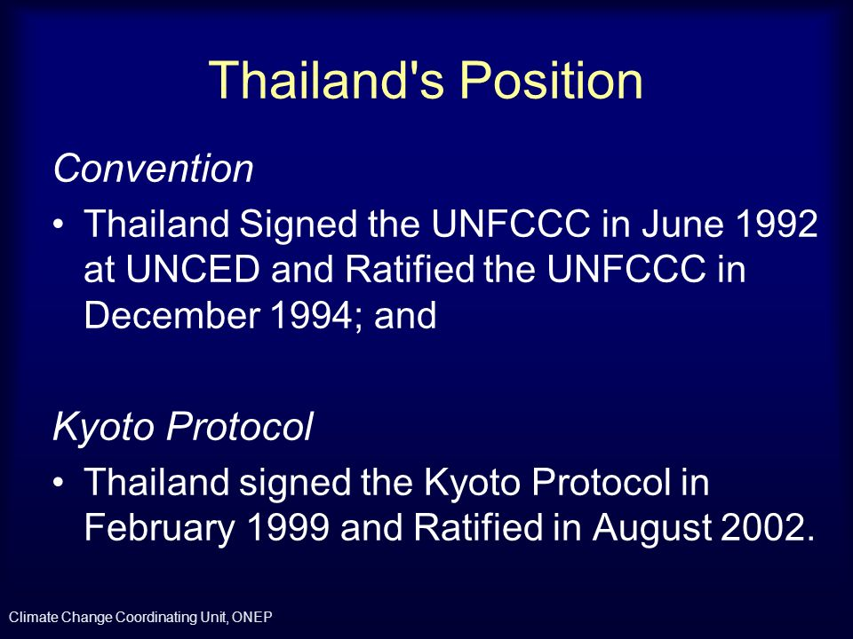 Thailand s Position Convention Kyoto Protocol