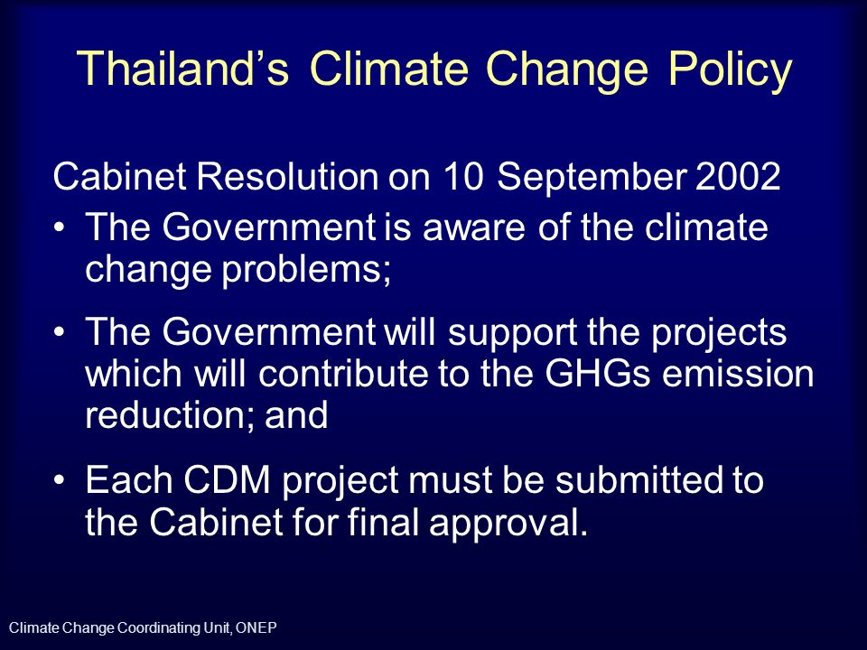 Thailand's Climate Change Policy