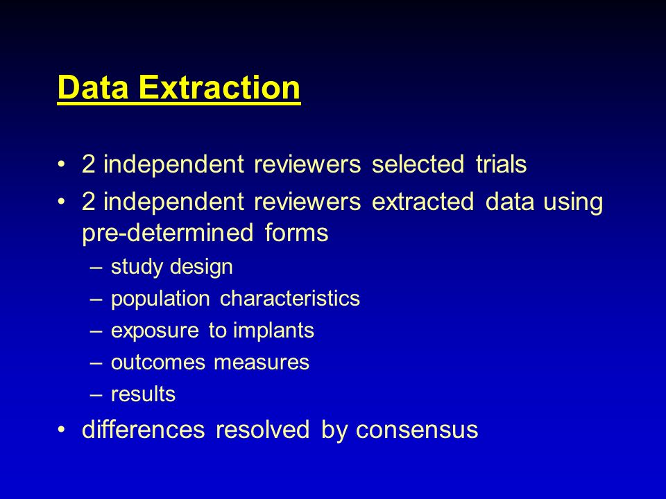 Data Extraction 2 independent reviewers selected trials