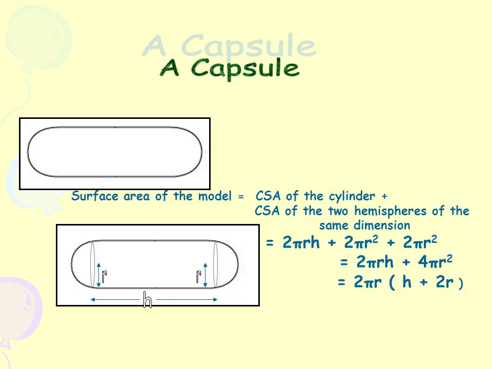 Capsule Surface Area Calculator