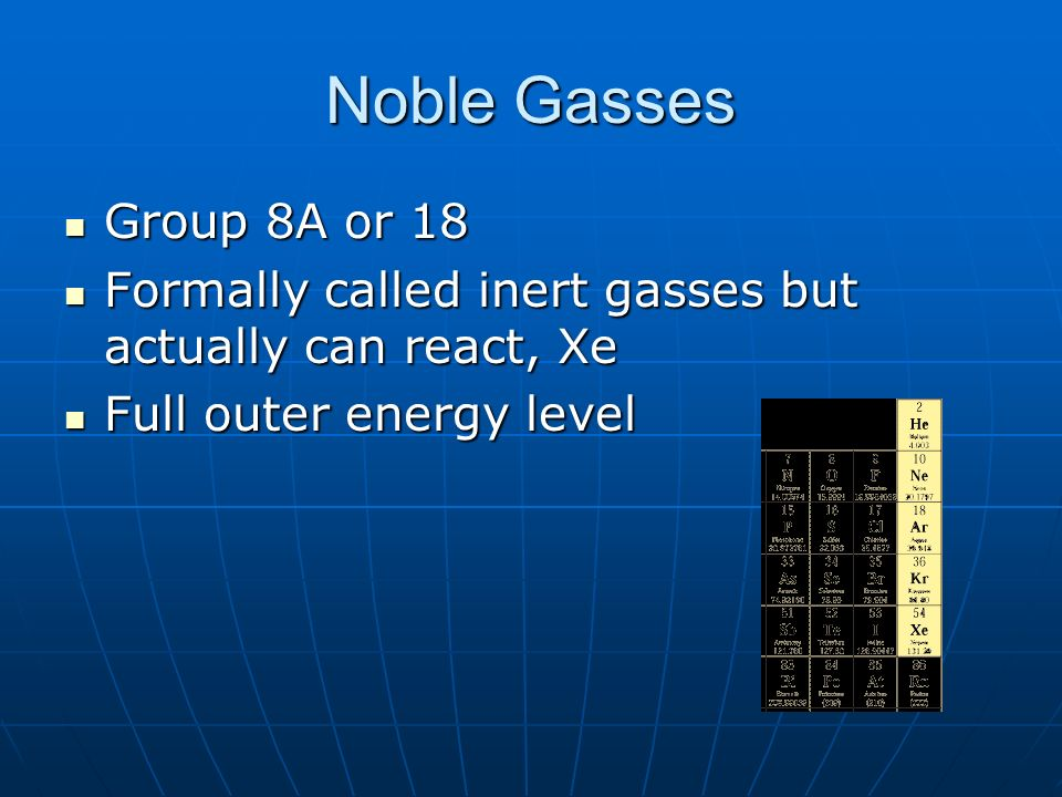 Noble Gasses Group 8A or 18. Formally called inert gasses but actually can react, Xe.