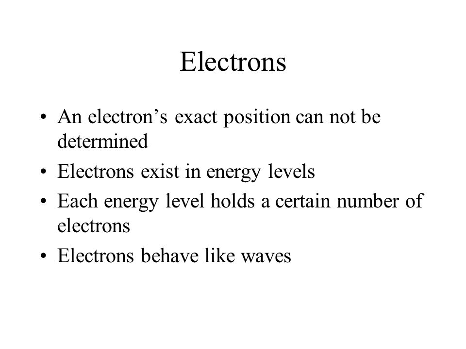 Electrons An electron's exact position can not be determined