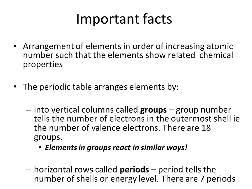 Periodic table ppt video online download periodic table 2 important facts arrangement of elements in order of increasing atomic number urtaz Images