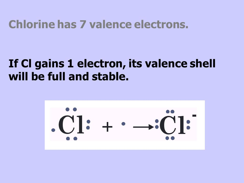 Chlorine has 7 valence electrons.