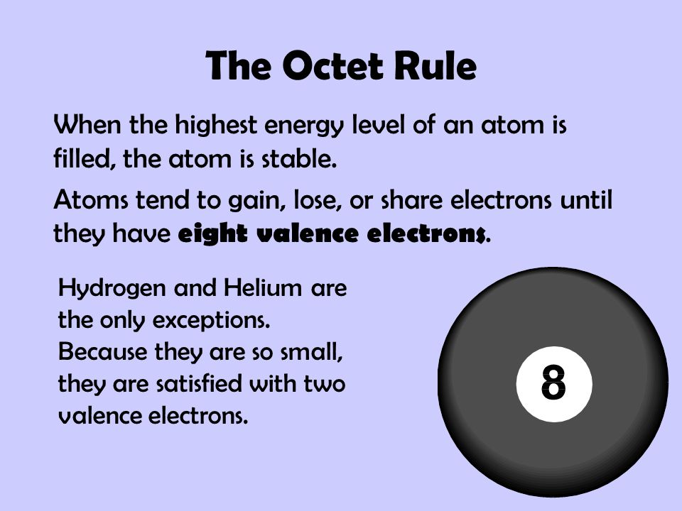 The Octet Rule When the highest energy level of an atom is filled, the atom is stable.