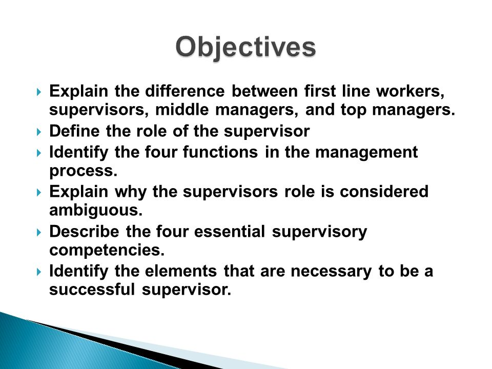 Defining the Role of the Supervisor - ppt download