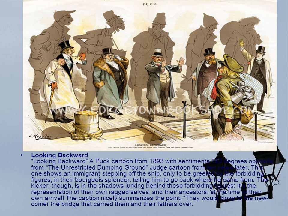 Looking Backward Looking Backward A Puck cartoon from 1893 with sentiments 180 degrees opposite from The Unrestricted Dumping Ground Judge cartoon from ten years later.