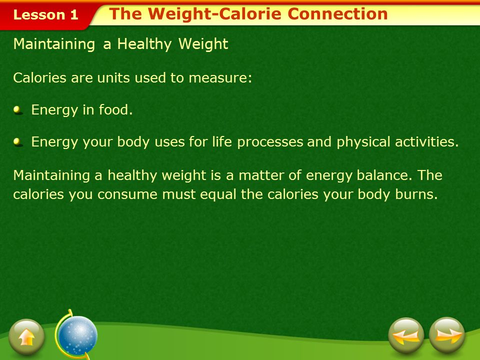 The Weight-Calorie Connection