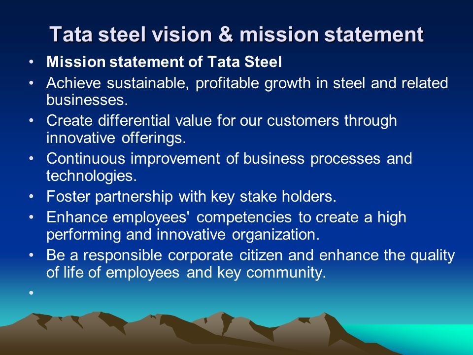 tata steel vision and mission