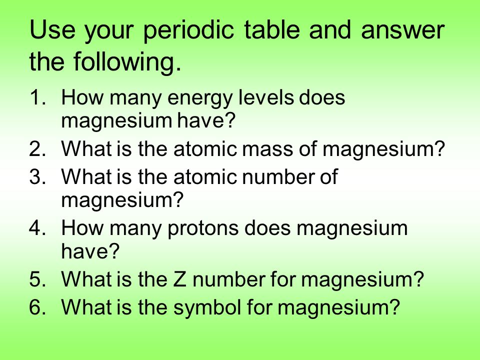 Periodic table notes ppt video online download use your periodic table and answer the following urtaz Images