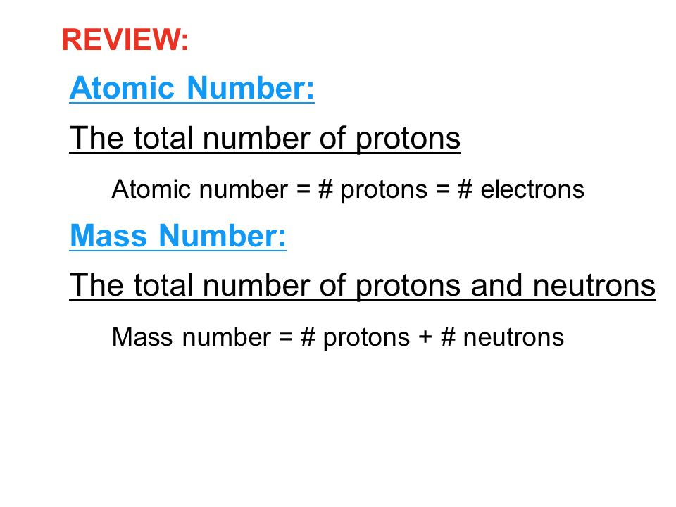 The total number of protons