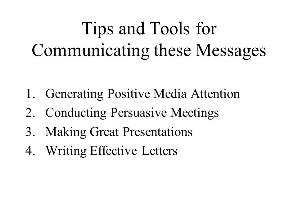 Tips and Tools for Communicating these Messages