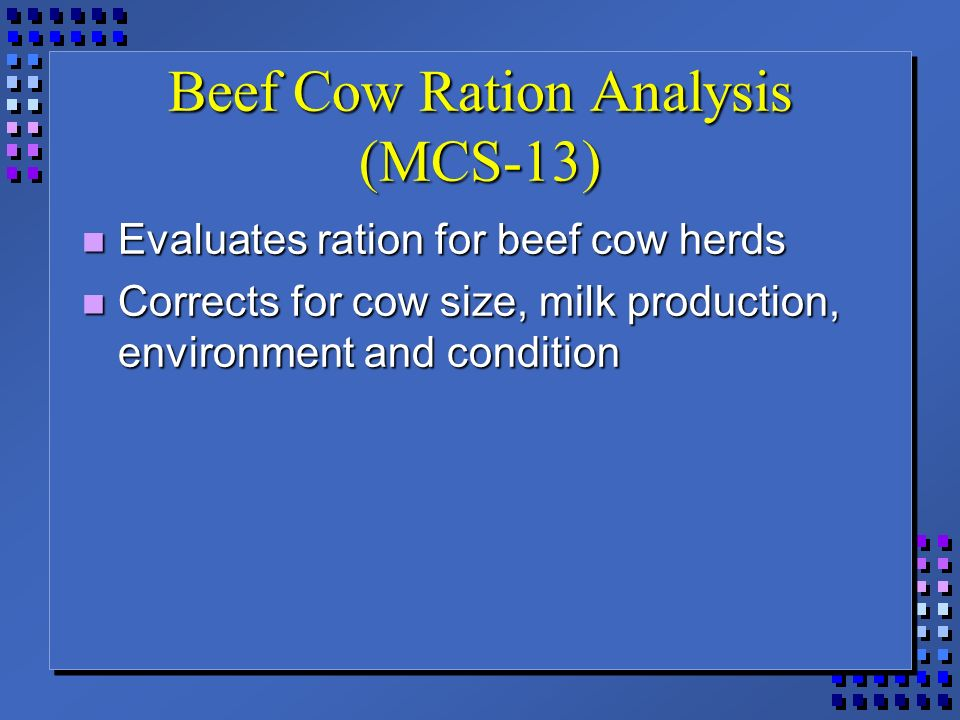 Summary -> Beef Cow Rations - stargate-rasa info