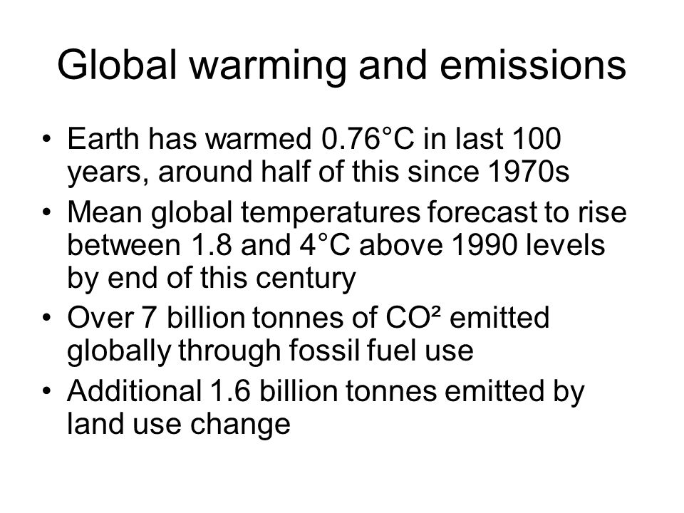 Global warming and emissions