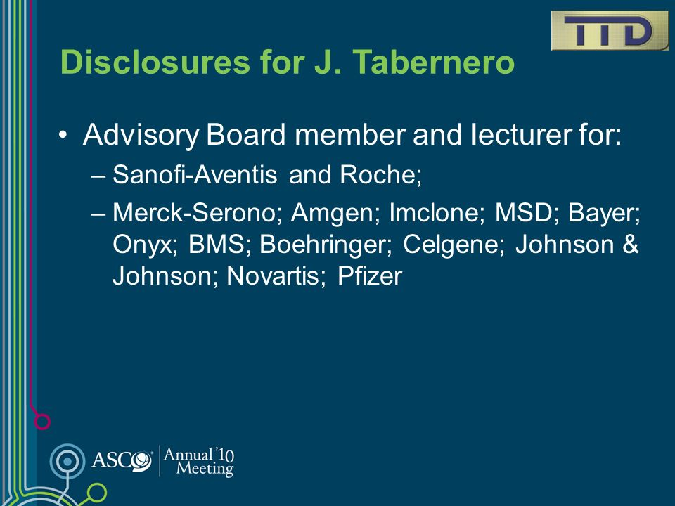 Disclosures for J. Tabernero