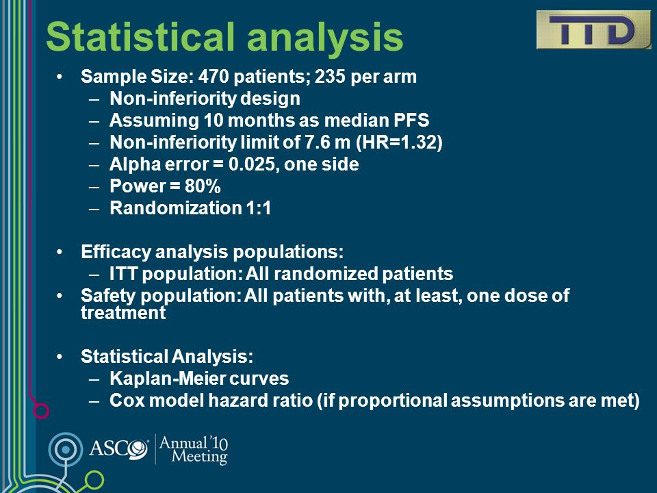 Statistical analysis Sample Size: 470 patients; 235 per arm