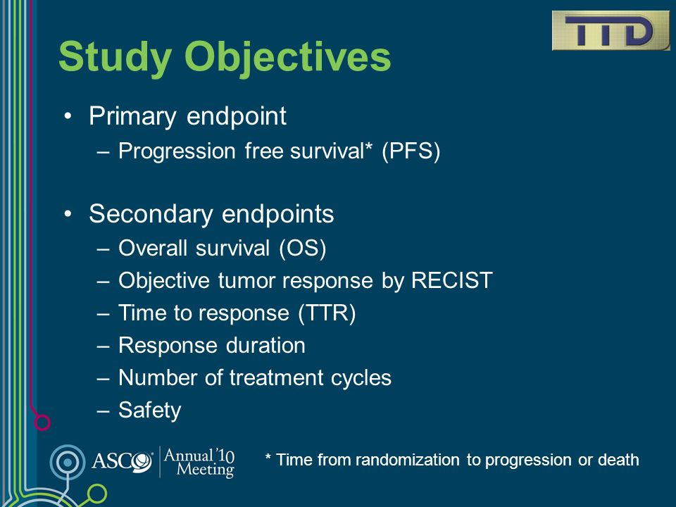 Study Objectives Primary endpoint Secondary endpoints