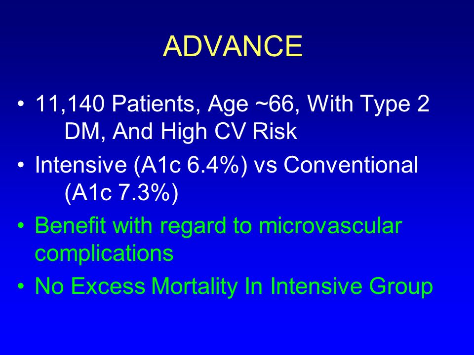 ADVANCE 11,140 Patients, Age ~66, With Type 2 DM, And High CV Risk