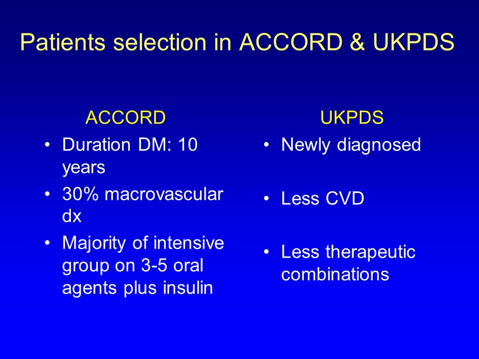 Patients selection in ACCORD & UKPDS