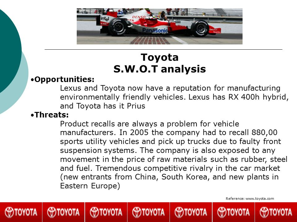 toyota prius competitive analysis Toyotas competitive advantage in the automotive industry marketing essay print reference this   iv identifying toyota's competitive advantages in the automotive industry 1 the vrio framework  with the toyota prius representing only one of many other examples.