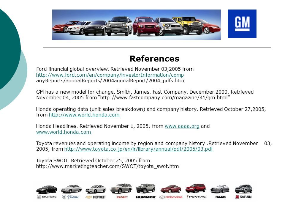48 References Ford Financial Global Overview