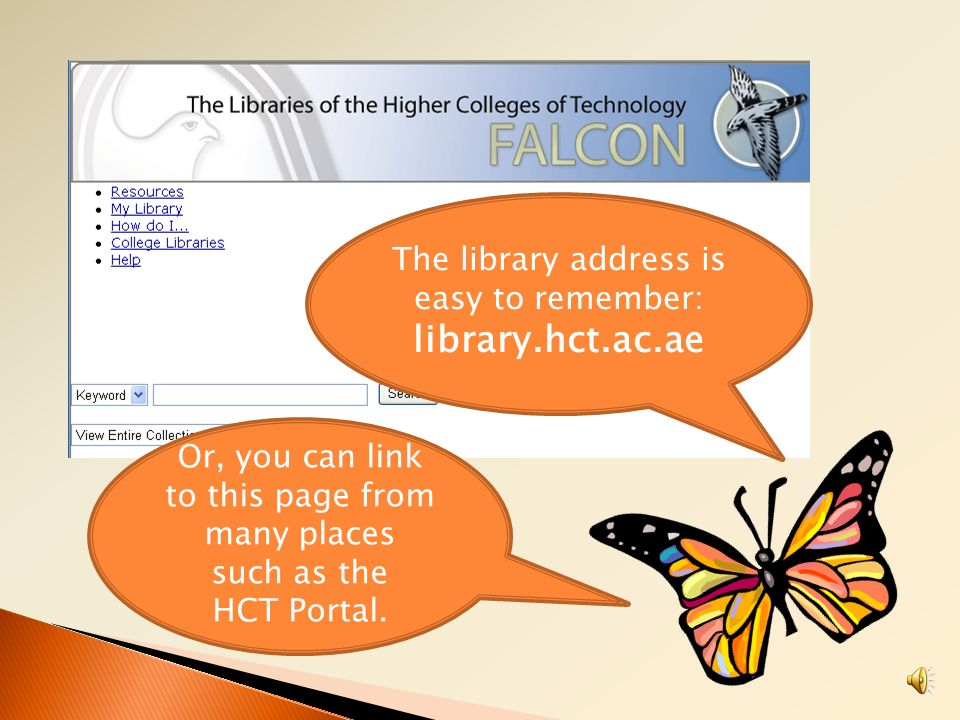 library.hct.ac.ae The library address is easy to remember: