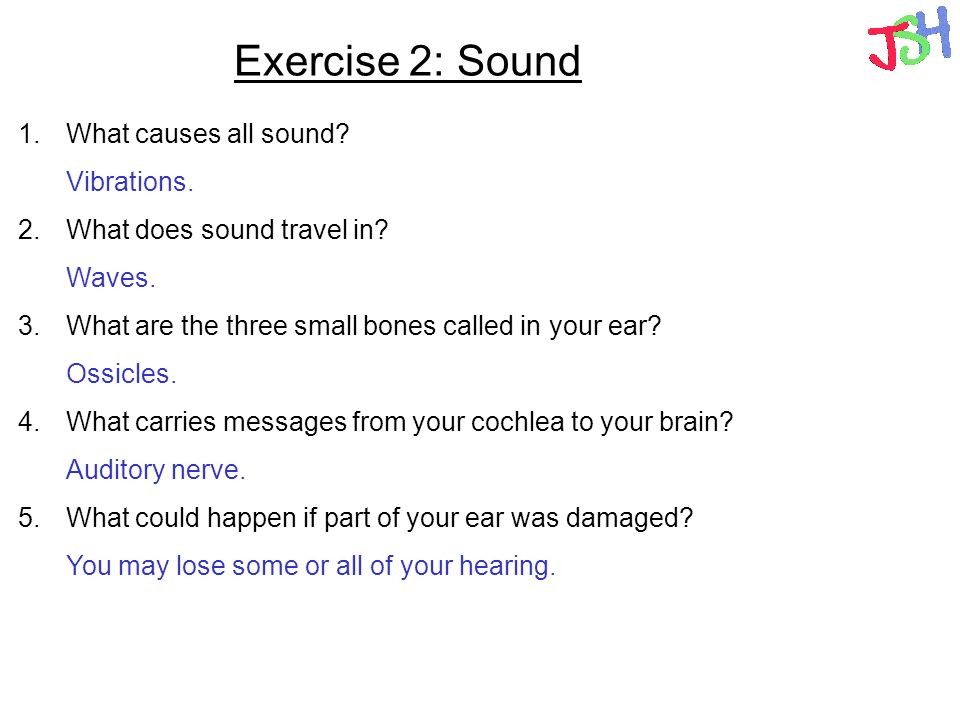 Exercise 2: Sound What causes all sound What does sound travel in