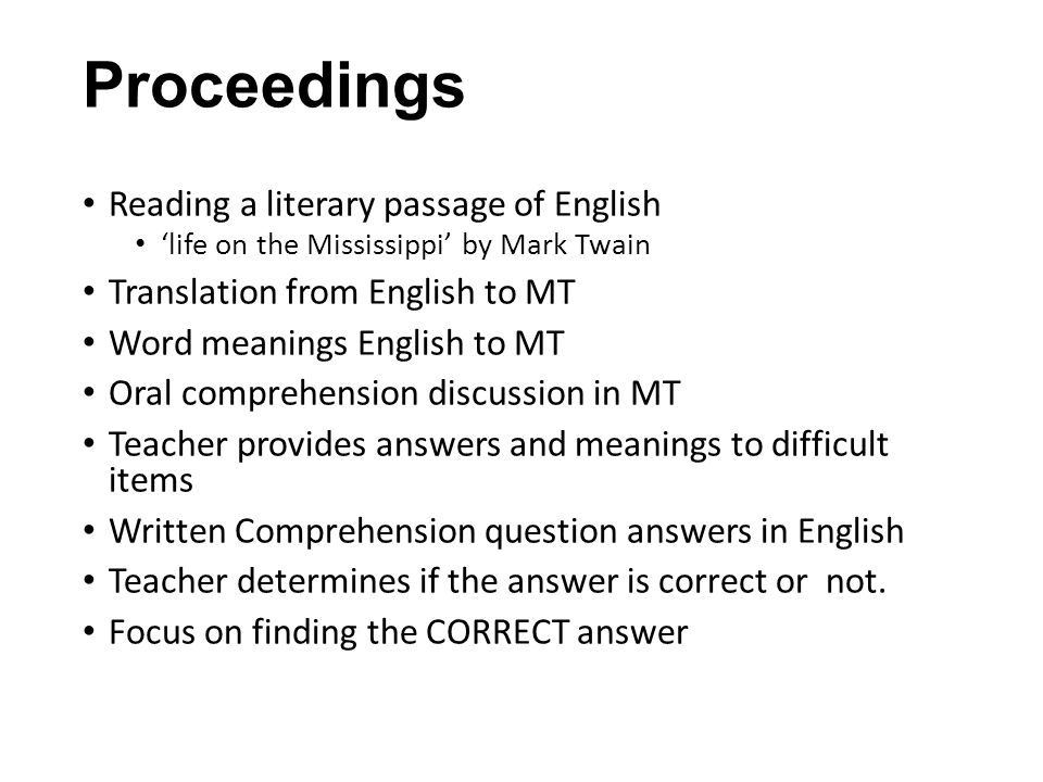 Proceedings Reading a literary passage of English