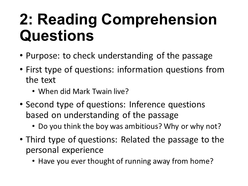 2: Reading Comprehension Questions
