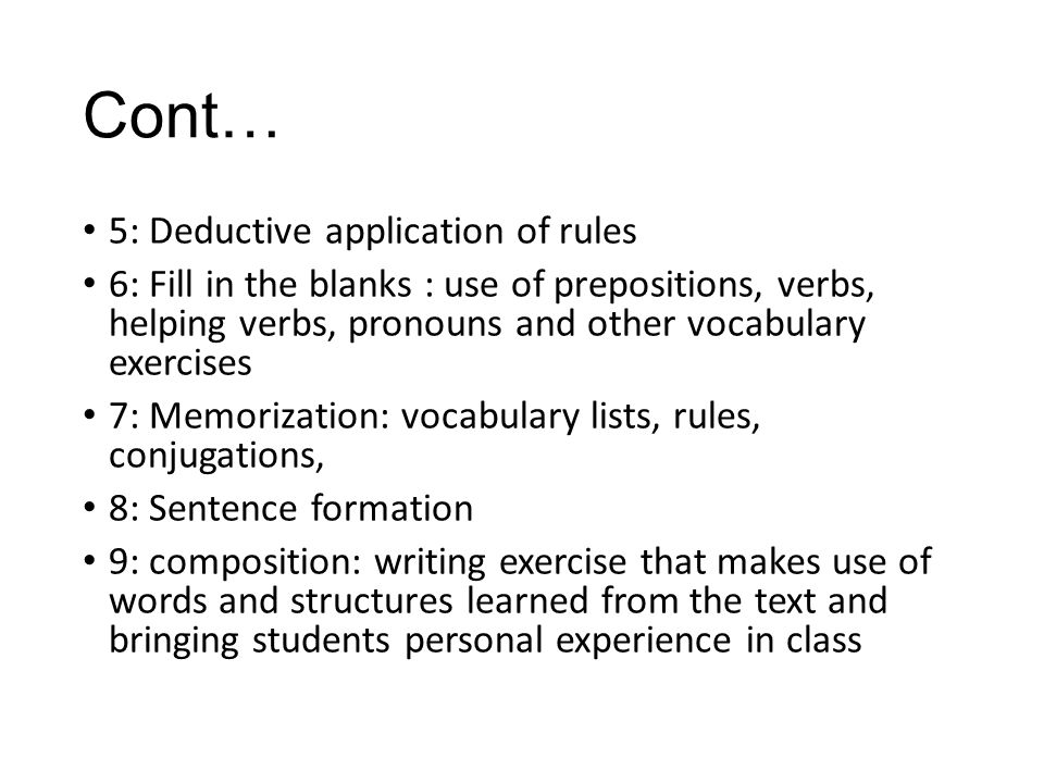 Cont… 5: Deductive application of rules