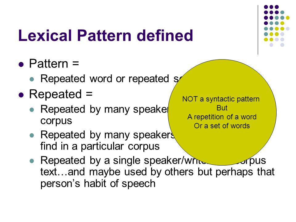 Lexical Patterning In Academic Talk Ppt Video Online Download Amazing Patterning Definition