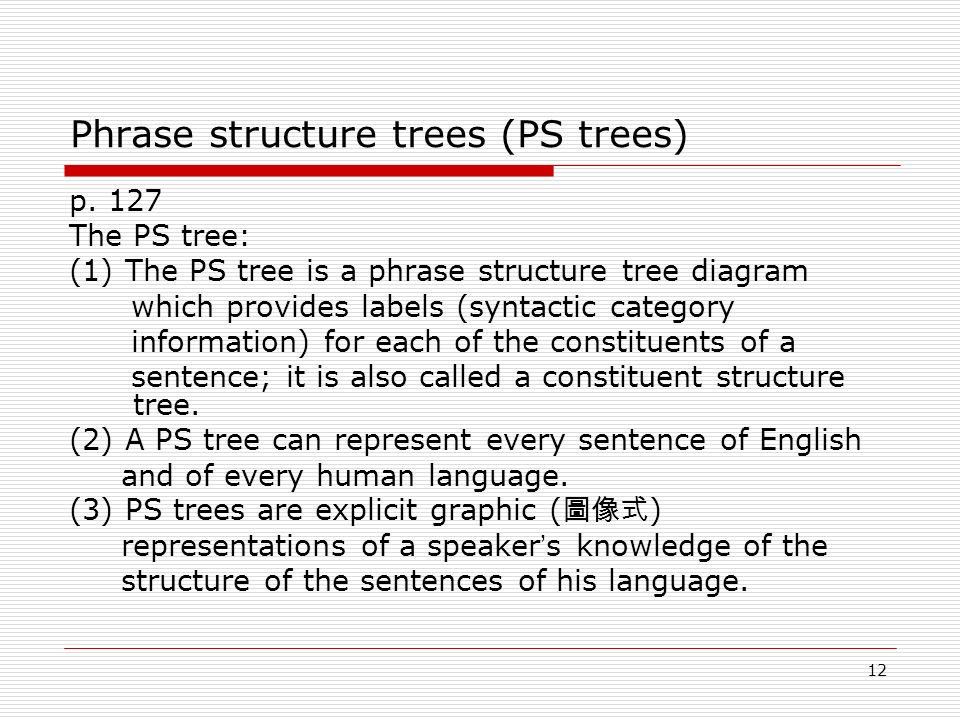 Chapter 4 syntax part ii ppt video online download phrase structure trees ps trees ccuart Image collections