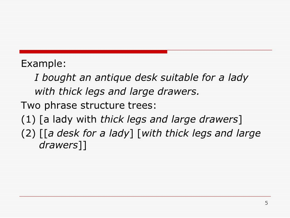 Example: I bought an antique desk suitable for a lady. with thick legs and large drawers. Two phrase structure trees: