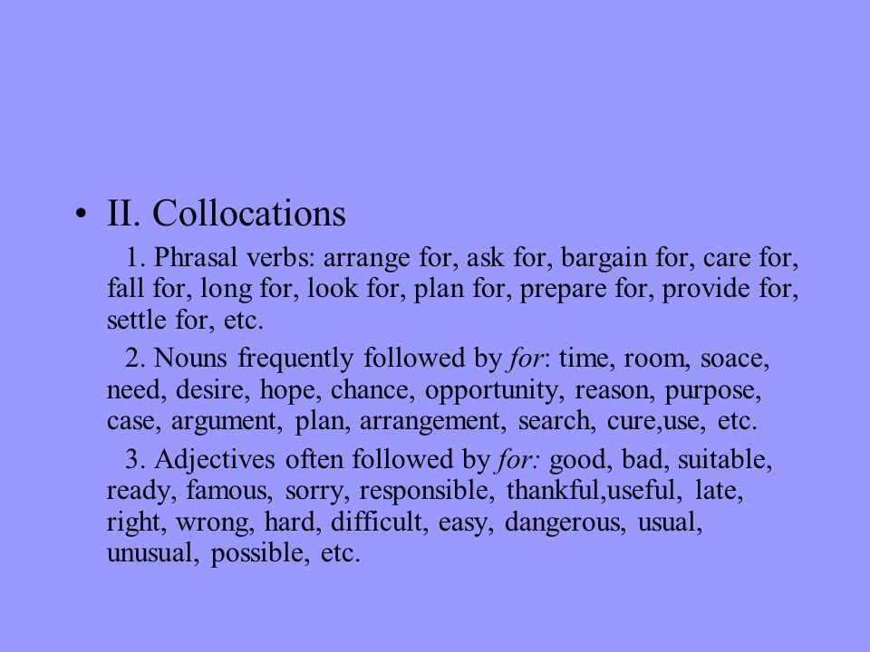 II. Collocations
