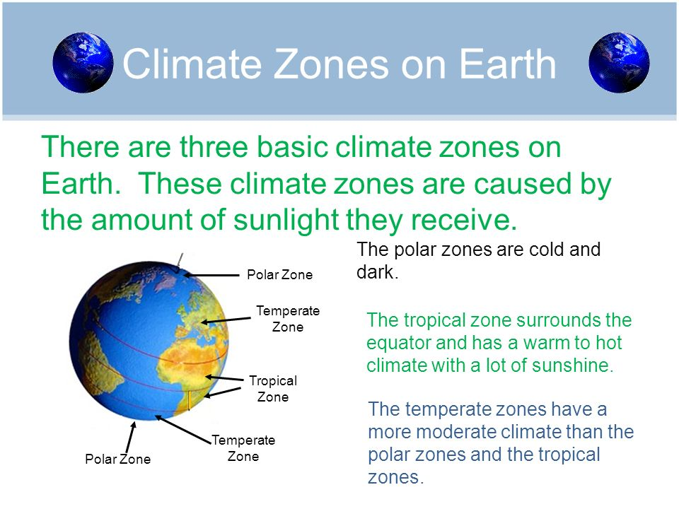 Climate Zones on Earth There are three basic climate zones on Earth. These climate zones are caused by the amount of sunlight they receive.